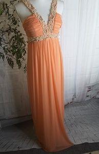 GLS Collective orange beaded bridesmaid dress 4-6